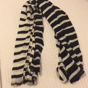 Kate Spade Black & White Striped Scarf